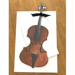 画像1: 型抜きされたカード バイオリン