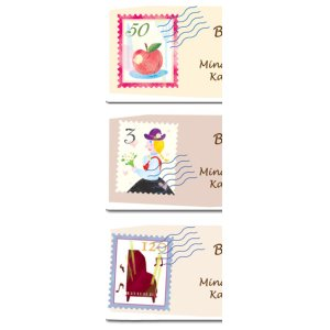 画像2: 切手とエアメールのイメージのアドレスラベル